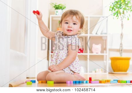 Toddler Girl Playing With Her Toy Blocks