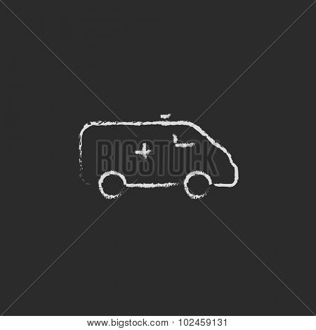 Ambulance car hand drawn in chalk on a blackboard vector white icon isolated on a black background.