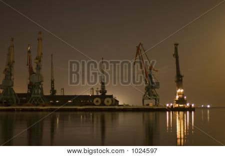 Cranes In The Port In Baku, Azerbaijan