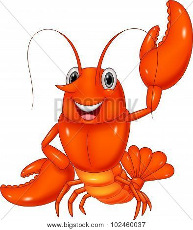 Cartoon lobster waving on white background