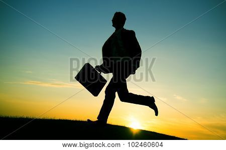Businessman Running Up Hill Occupation Mission Aim Concept