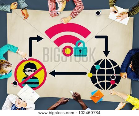 Internet Security Data Protection Networking Firewall Concept