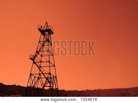 Oil Derrick During Sunset In Azerbaijan, Baku