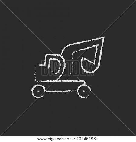 Excavator truck hand drawn in chalk on a blackboard vector white icon isolated on a black background.