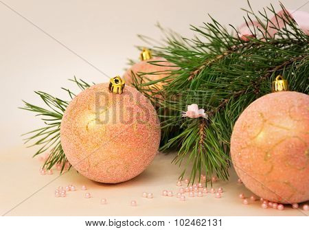 Christmas (new Year) Decoration Composition, Fur-tree Branches And Pink Balls