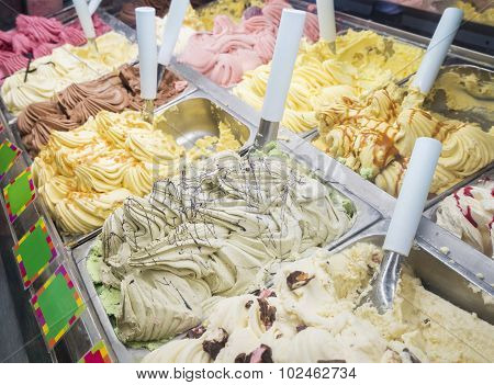 Ice cream counter with variety of flavours