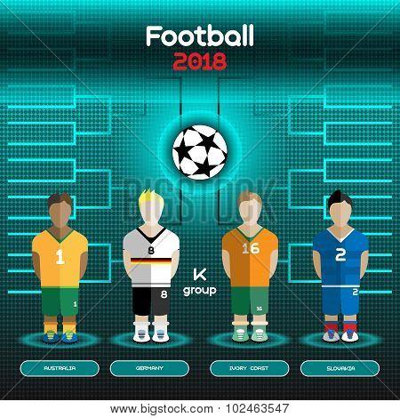 World Cup Team Scoreboard. Australia, Germany, Ivory Coast, Slovakia.
