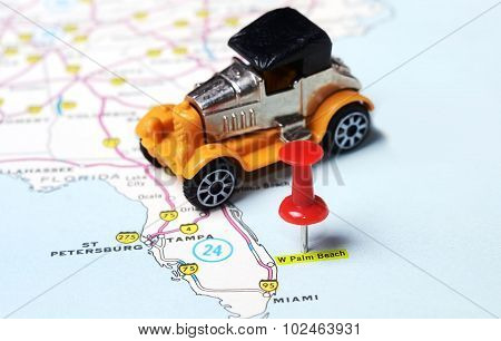 Palm Beach  Usa Map Retro Car
