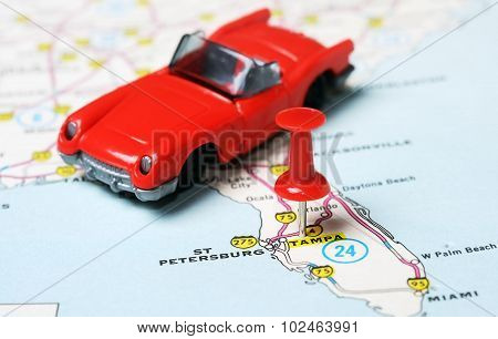 Tampa Florida  Usa Map Red  Car