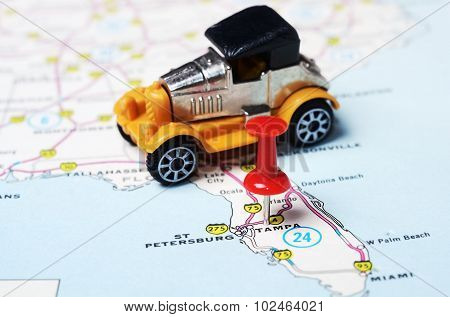 Tampa Florida  Usa Map Retro  Car
