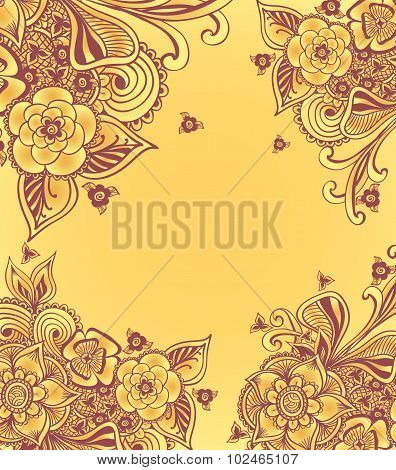 Frame With Doodle Flowers And Floral Frame or background  with doodle flowers  in yellow