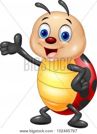 Cartoon ladybug waving hand