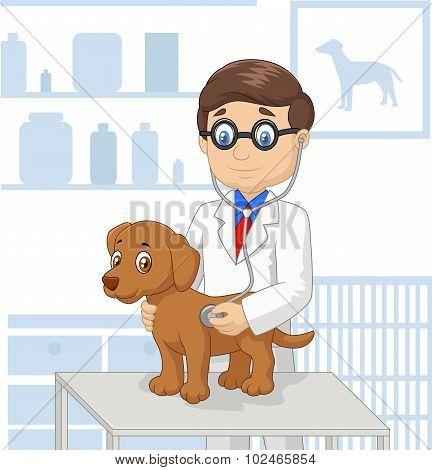 Cartoon veterinary examining dog