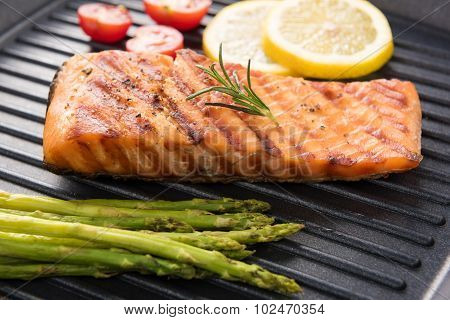 Grilled Salmon Cooked Bbq On A Pan