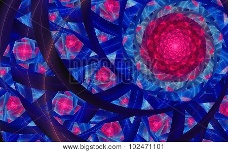 Abstract Fantasy Red Flowers Swirl Lines