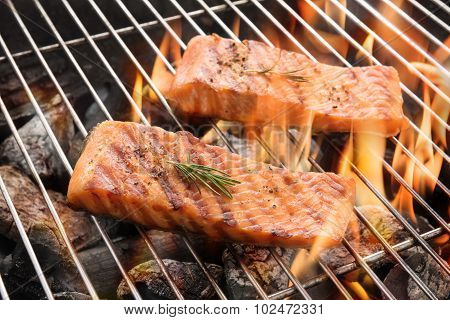 Grilled Salmon Steaks On The Flaming