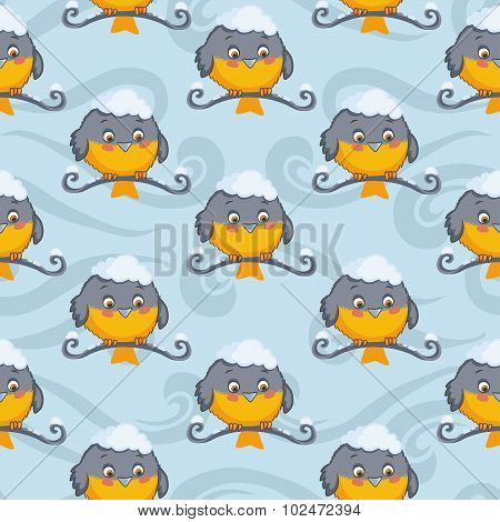 Tomtit vector seamless pattern. Winter background