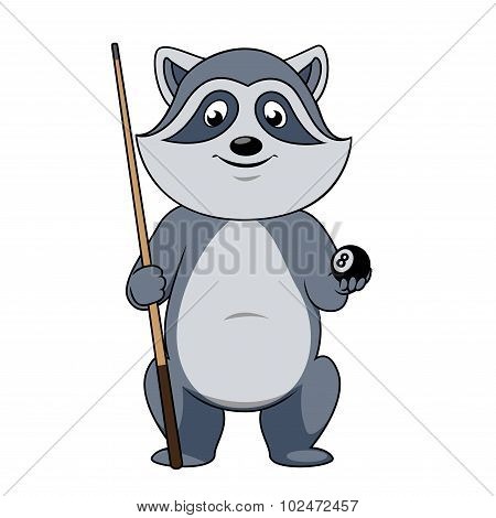 Raccoon billiards player with ball and cue