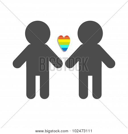 Gay Marriage Pride Symbol Two Man Silhouette Lgbt Icon Rainbow Heart Flat Design