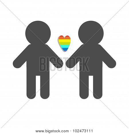 Gay Marriage Pride Symbol Two Man Silhouette Lgbt Icon Rainbow Heart Flat Design