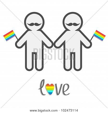 Gay Marriage Pride Symbol Two Contour Man With Mustaches And Flags Lgbt Icon Rainbow Heart Love Flat