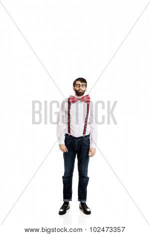 Funny handsome man wearing suspenders.