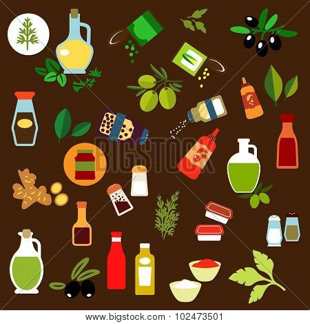 Condiments, spices, herbs and oil flat icons
