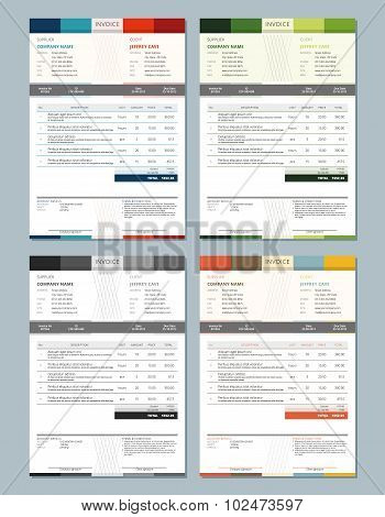 Set Of Vector Invoice Design Templates. 4 Color Themes