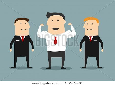 Cartoon powerful businessman with bodyguards
