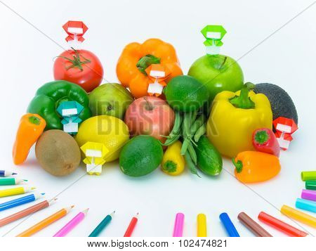 Origami Ninja With Vegetables And Fruits