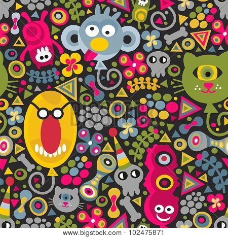 Cute monsters balloons seamless pattern on dark background.