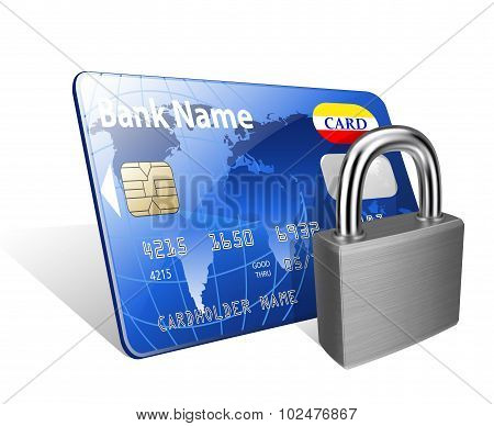 Padlock And Credit Card. Concept Of A Safe Payment