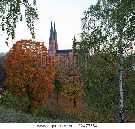 The towers, spires and warship of Uppsala Cathedral.