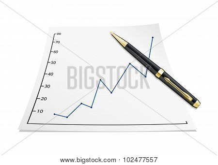 Business Graph On The Paper Sheet With Pen. Vector