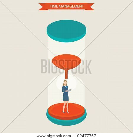 Business Women Holding Laptop Standing At Hourglass.