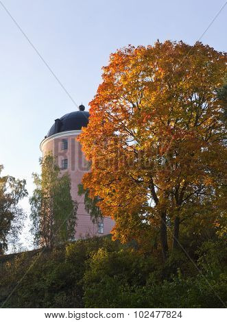 Part of Uppsala Castle on a hill.