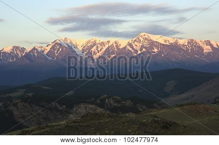 Kurai steppe and North Chuya ridge at dawn.