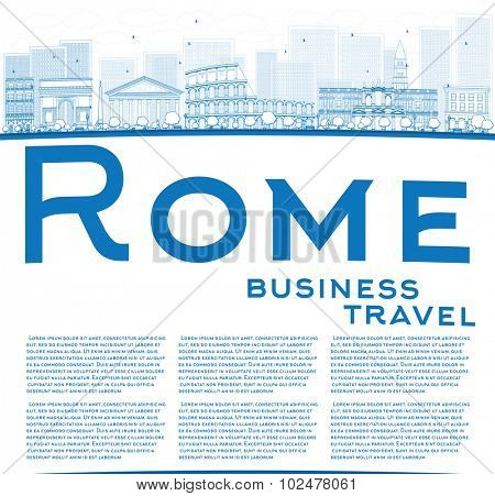 Outline Rome skyline with blue landmarks and copy space. Business travel concept. Vector illustration