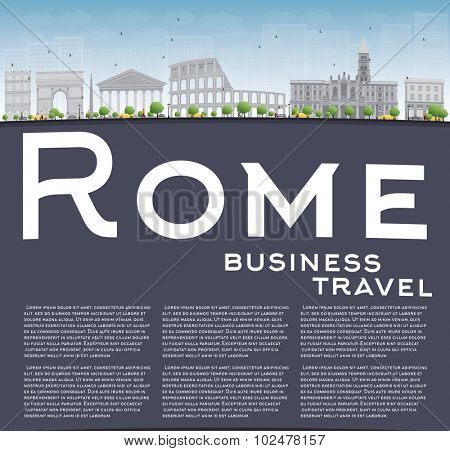 Rome skyline with grey landmarks and copy space. Business travel concept. Vector illustration