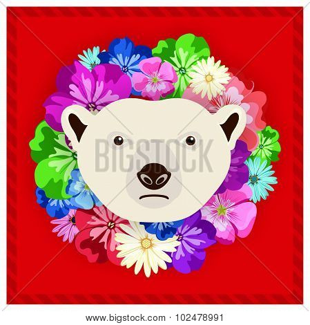 Vector portrait of a polar bear among the flowers. Beautiful, bright colors. Flower frame, rim.