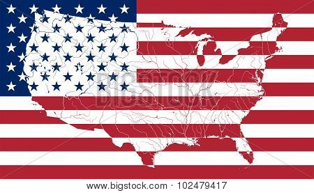 Map Of The United States Of America On The American Flag.