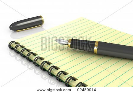 Notepad With Fountain Pen On A White Background