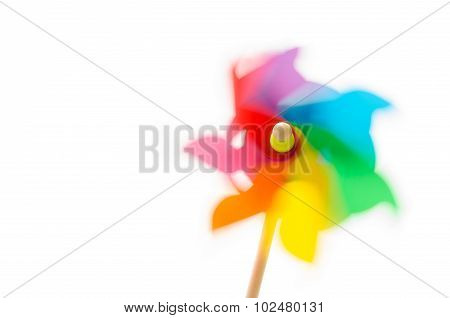 Colored Pinwheel Spinning.