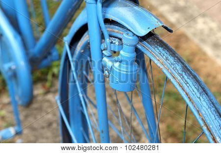Vintage Bicycle With The Bottle Dynamo On The Front Wheel