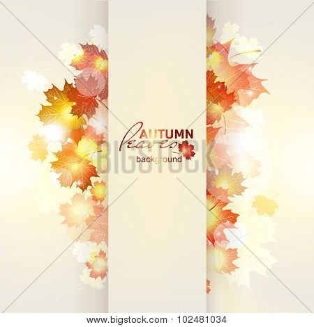 Vector illustration of bright Sunny autumn background with Golde