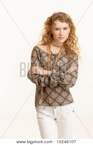 Attractive Young Woman Standing Arms Crossed