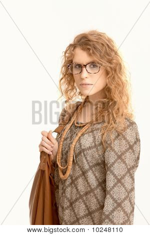 Attractive Female Wearing Glasses Going To Work