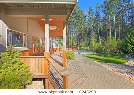 Porch and Mountain style home