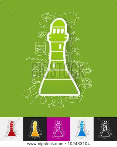 lighthouse paper sticker with hand drawn elements