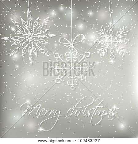 Abstract silver christmas  card with hand drawn snowflakes. Christmas Snowflake on abstract background. Christmas card design. Christmas poster, t-shirt or web design with snowflake